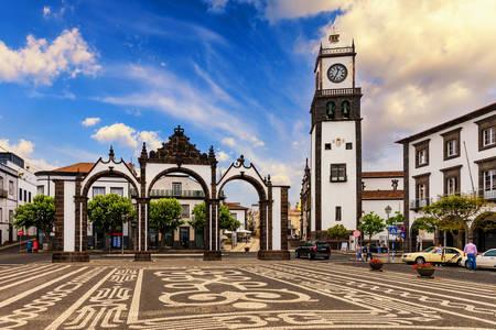 Ponta Delgada City Gate and San Sebastian Church