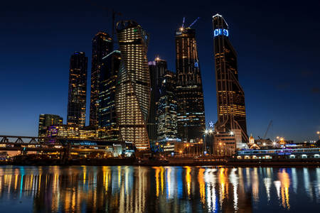View of Moscow City at night