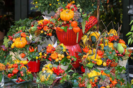 Autumn street composition with pumpkins